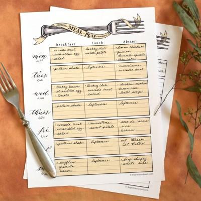 Artistic Printable Meal Planner