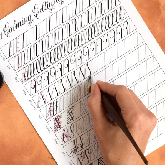 """11 Calming Calligraphy Drills"" Printable 