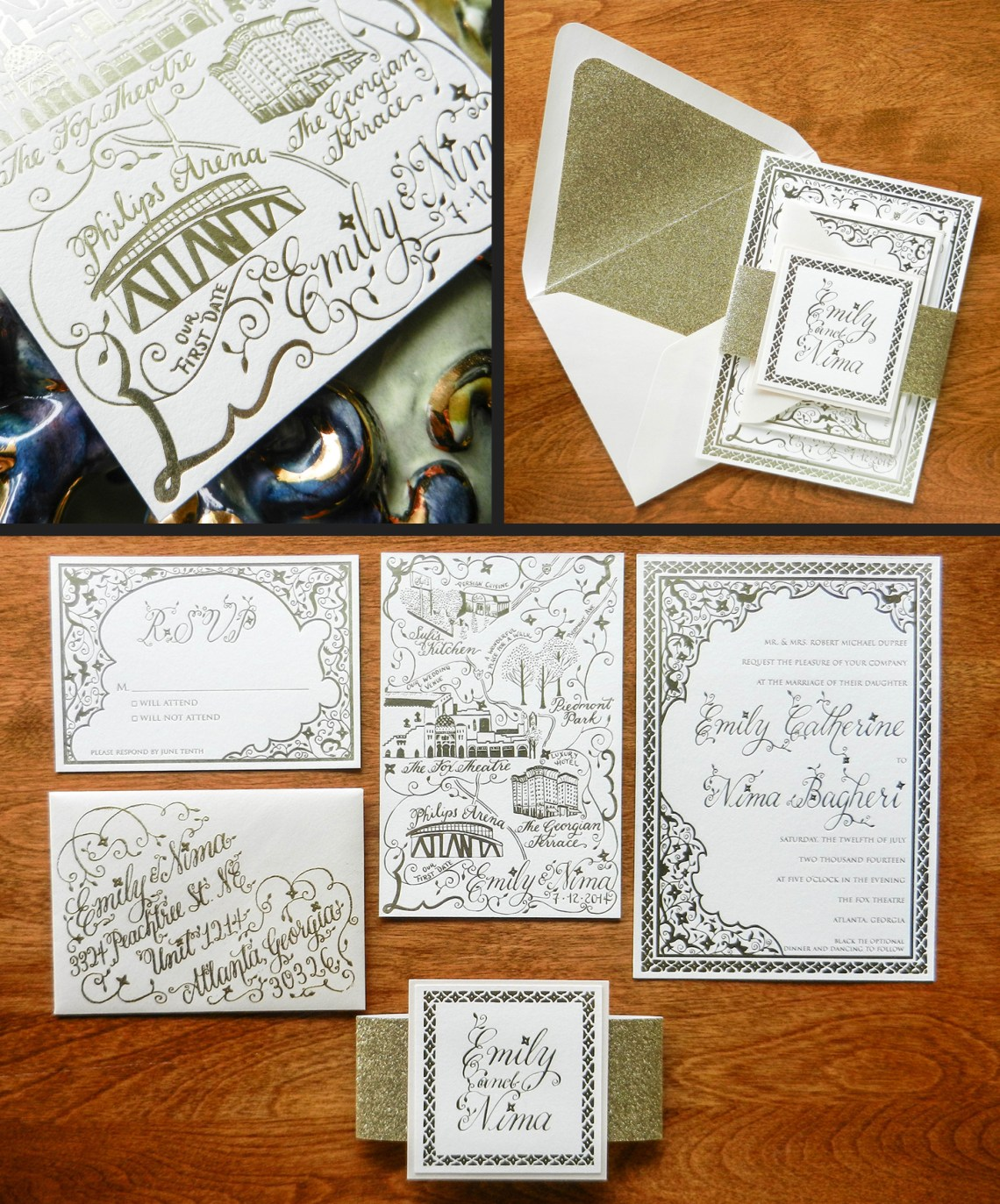 Gold Foil Flourish Formal Invitation Suite | The Postman's Knock