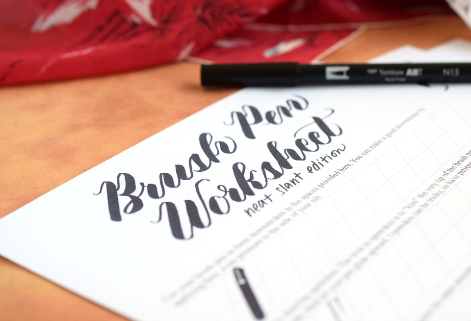 Free Brush Pen Calligraphy Worksheet: Neat Slant Edition | The ...