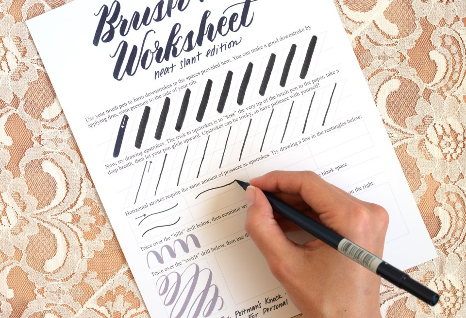 Brush Pen Calligraphy Worksheet Neat Slant Edition – Free Calligraphy Worksheets