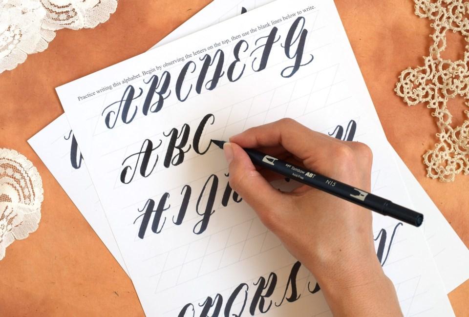 Free Brush Pen Worksheet: Neat Slant Edition | The Postman's Knock