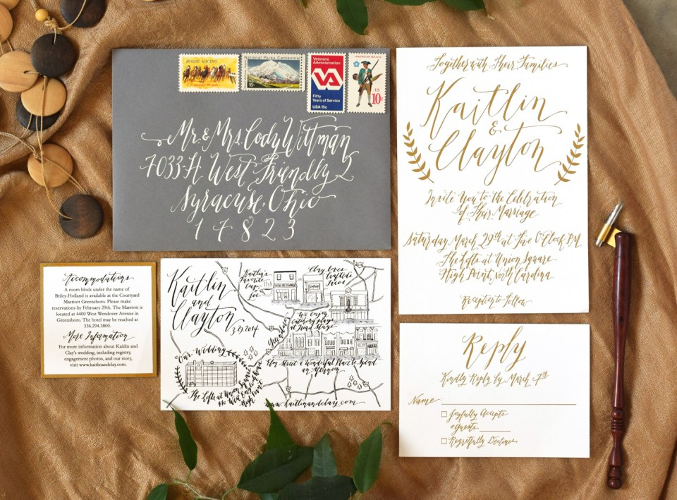 Gold Foil Calligraphed Invitations | The Postman's Knock