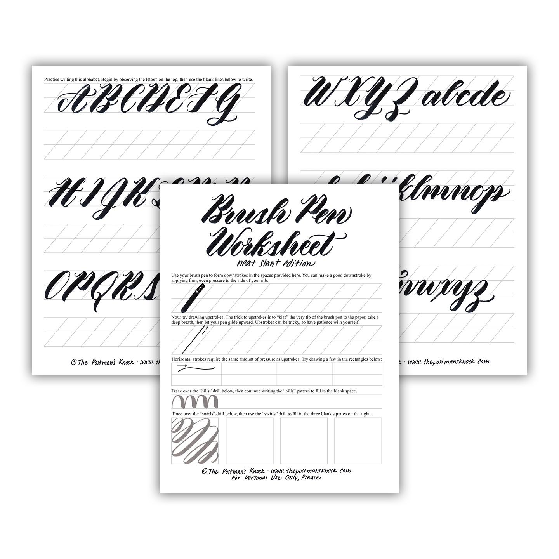 Free Brush Pen Calligraphy Worksheet Neat Slant Edition