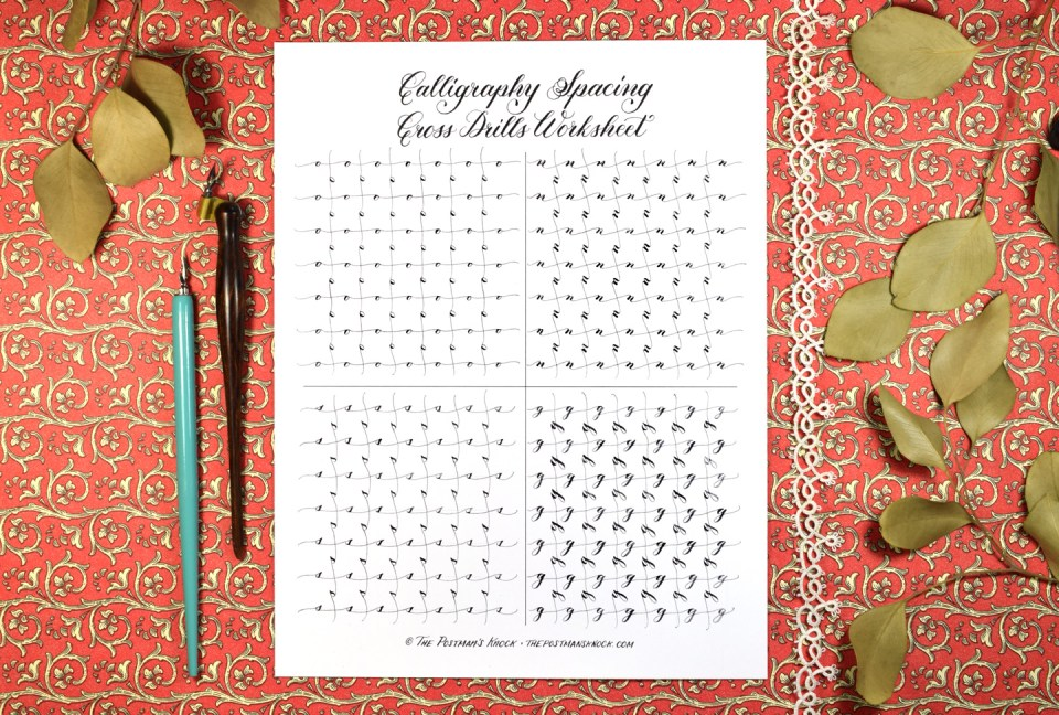 Free Calligraphy Spacing Cross Drills Worksheet | The Postman's Knock
