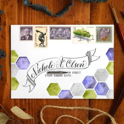 Watercolor Hexagons Mail Art Tutorial