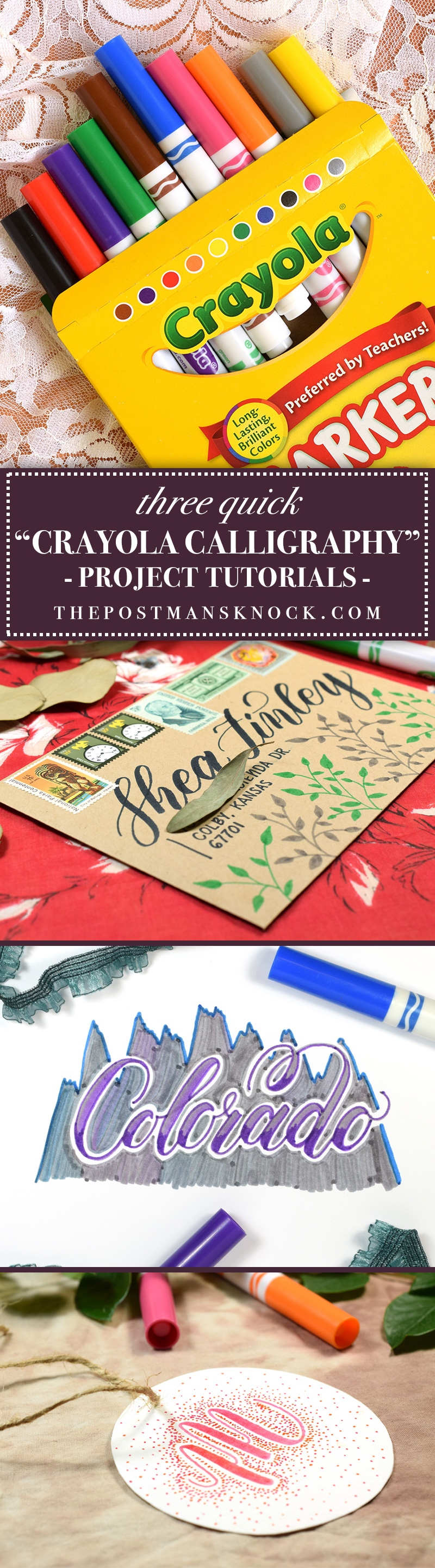 "3 Quick ""Crayola Calligraphy"" Projects 