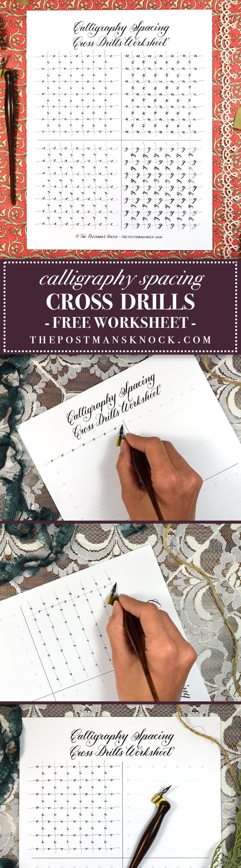 Free Calligraphy Spacing Cross Drills Worksheet