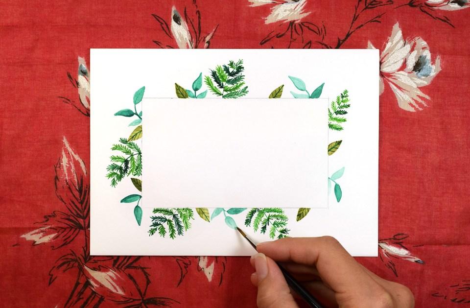 Botanical Frame Envelope Art Tutorial | The Postman's Knock
