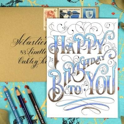 Hand-Lettered Printable Birthday Card