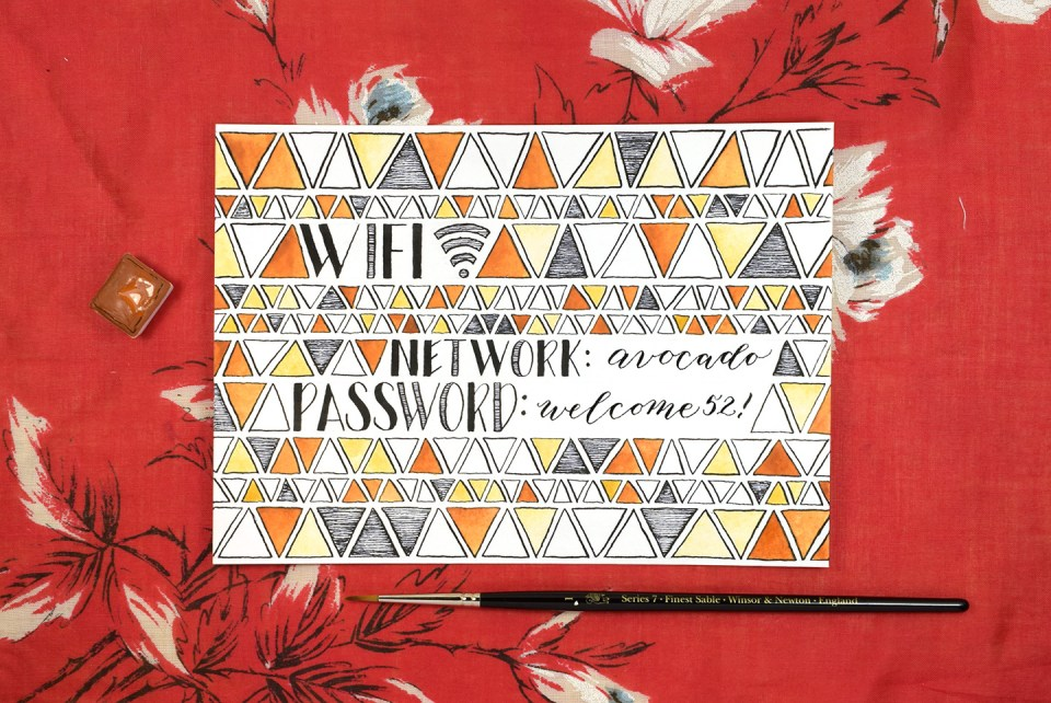 Mid Century Modern Wifi Password Sign Tutorial | The Postman's Knock