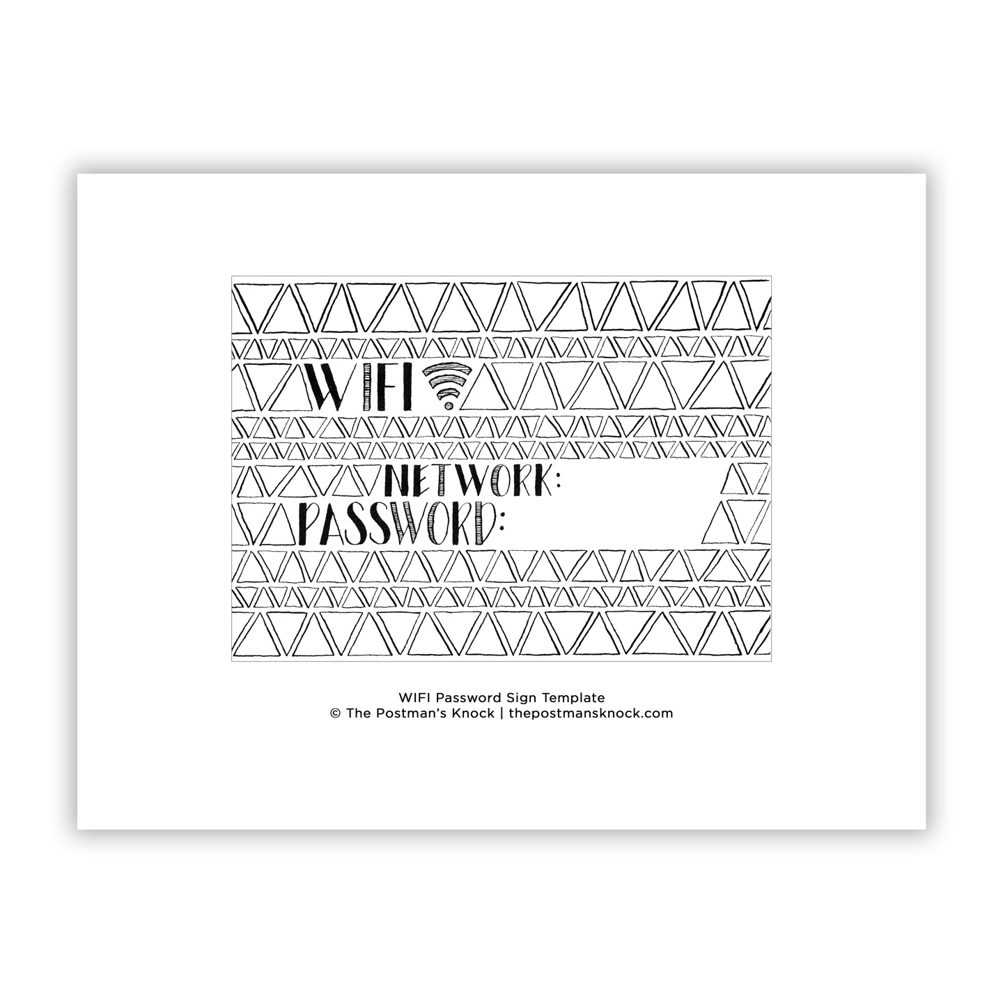 image relating to Wifi Password Sign Printable named Mid Century Wifi Pword Indication Template The Postmans Knock