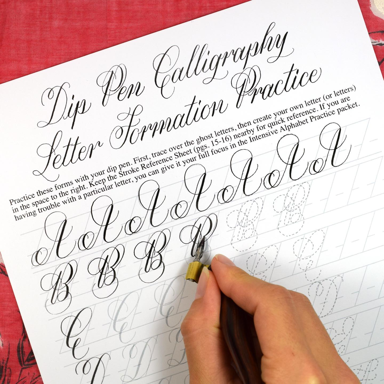 Printable Calligraphy Worksheet Set Janet Style The Postman S Knock