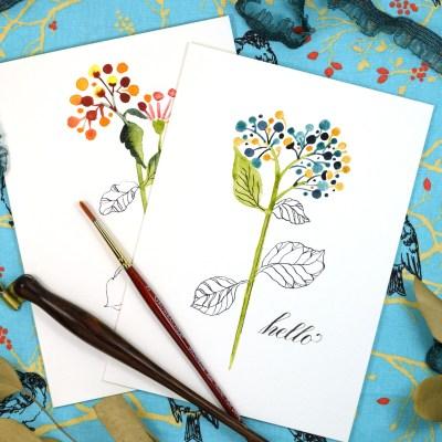 "Floral Sketch ""Just Because"" Card Tutorial"