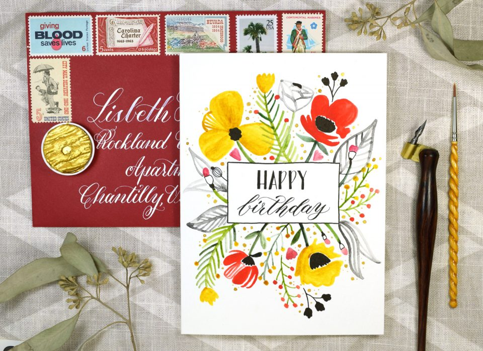 Floral Burst Birthday Card Tutorial Includes Free Printable