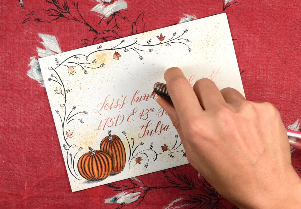 Flourished Autumn Envelope Tutorial | The Postman's Knock