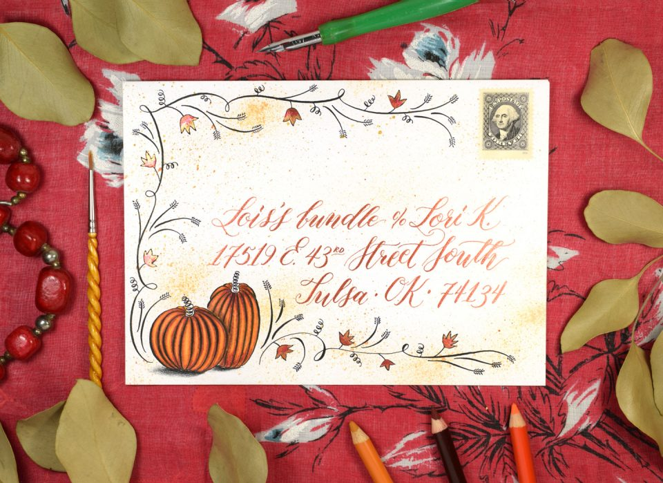 Flourished Autumn Envelope Art Tutorial | The Postman's Knock