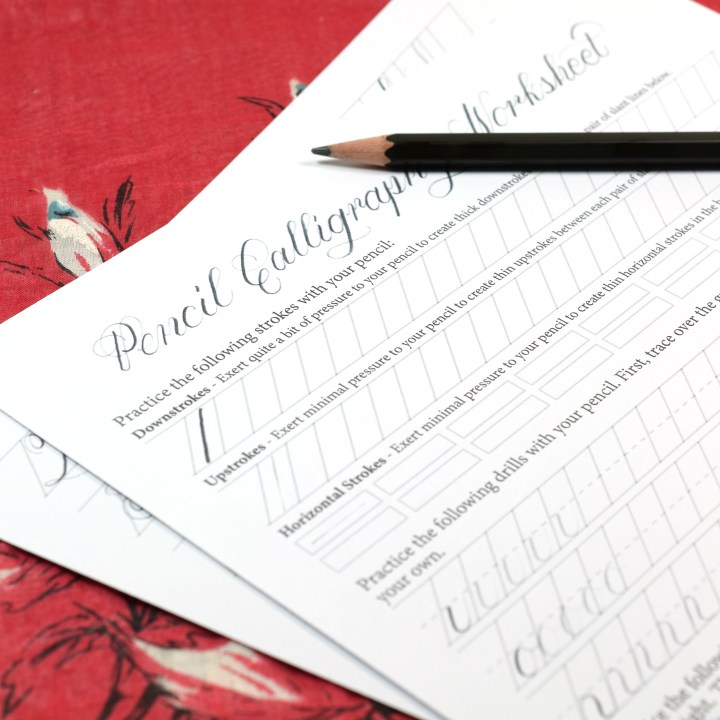 Printable Pencil Calligraphy Worksheet