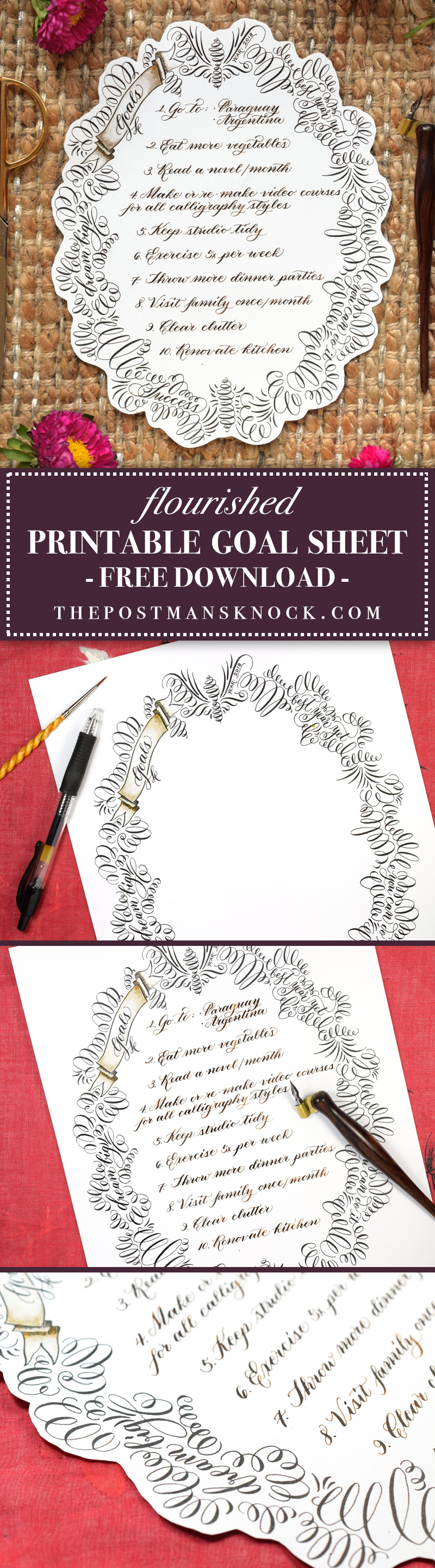 Free Flourished Printable Goal Sheet | The Postman's Knock