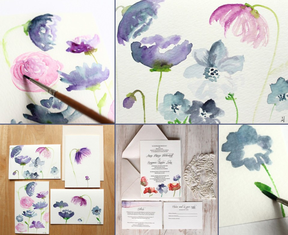 Watercolor Flowers Card Tutorial | The Postman's Knock