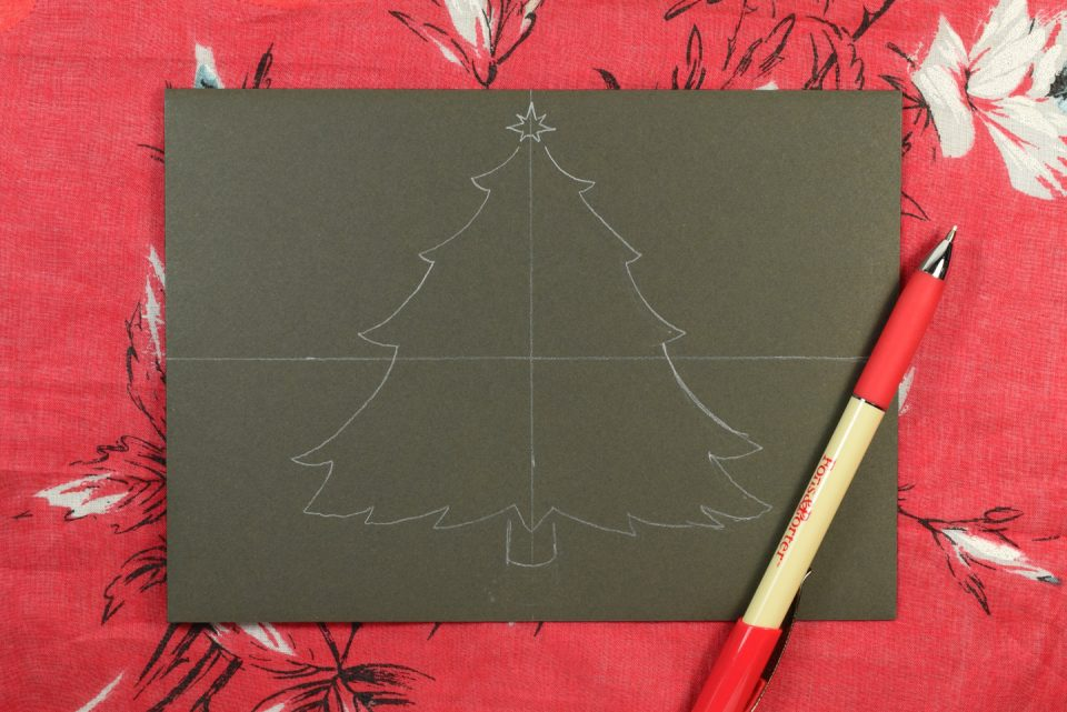Christmas Tree Holiday Envelope Art Tutorial | The Postman's Knock