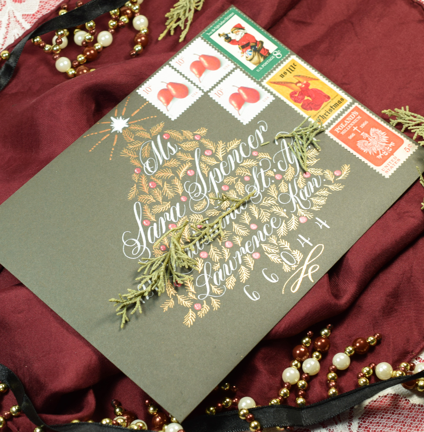 christmas tree holiday envelope art guidelines template