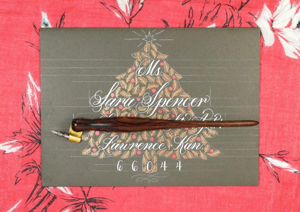 Christmas Tree Holiday Envelope Art Tutorial | The Postman's Knock