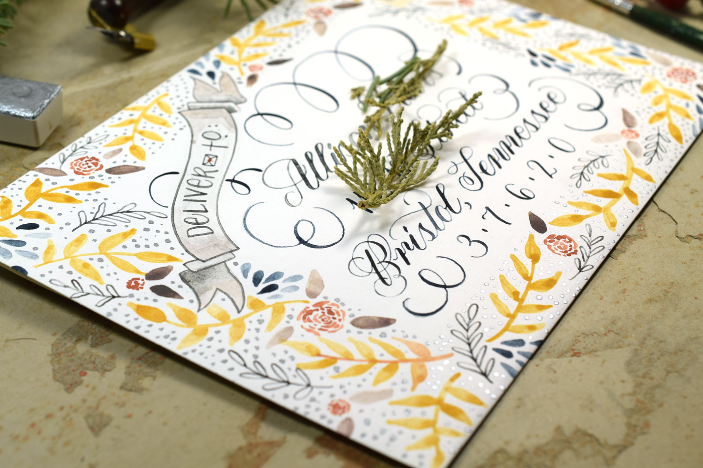 Watercolor Calligraphy | The Postman's Knock