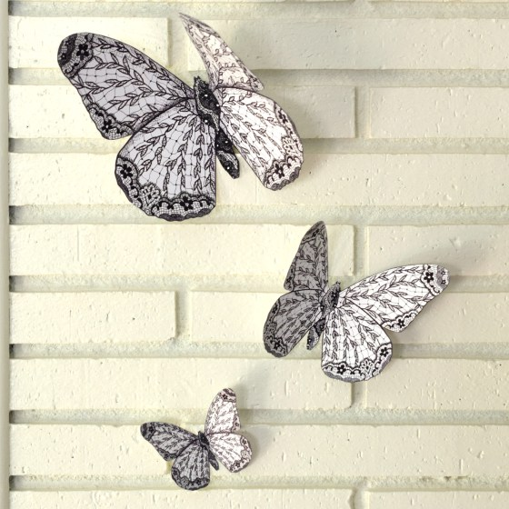Cut out one of each butterfly and tape them to the wall for instant wall art!