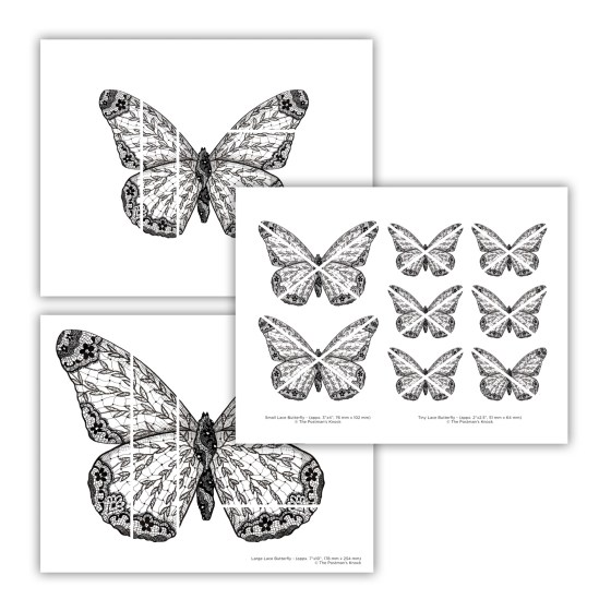 Printable Illustrated Lace Butterflies