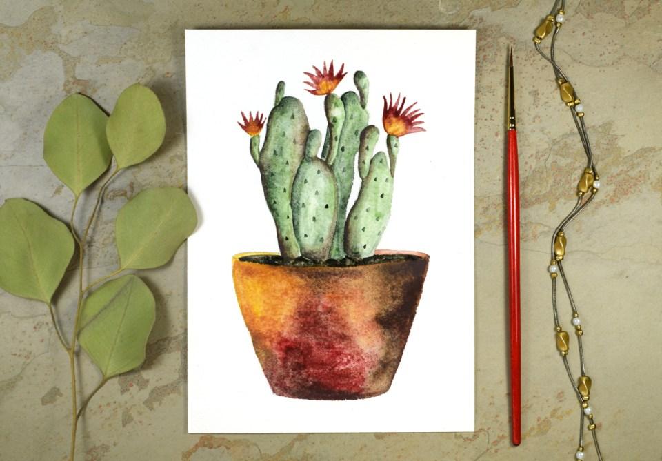 Watercolor Cactus + Quote Artwork Tutorial | The Postman's Knock