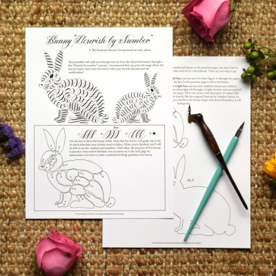 """Free Printable """"Flourish by Number"""" Bunny"""