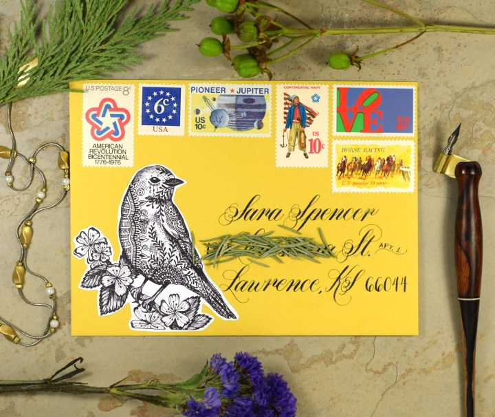 This little guy looks great decoupaged on envelopes!