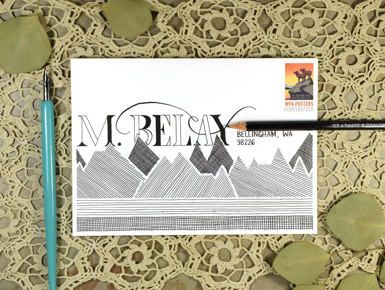 Monochrome Mountains Mail Art Tutorial + Free Printable   The Postman's Knock