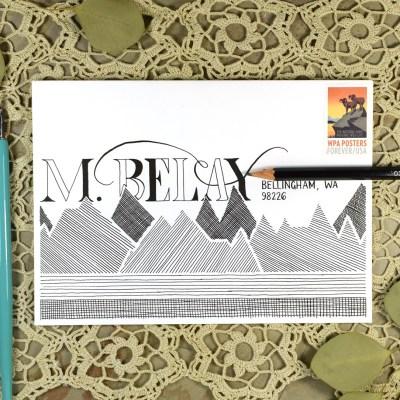 Monochrome Mountains Mail Art Tutorial + Free Printable