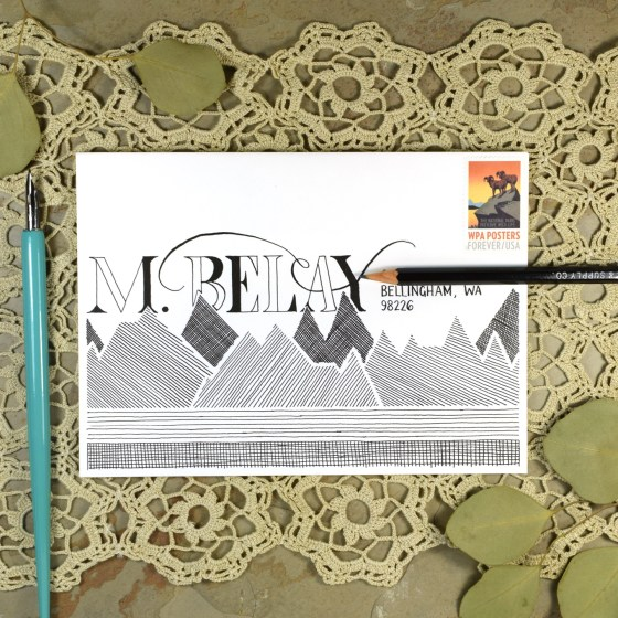 """Use what you learn in this worksheet set for real-life applications such as mail art! This is """"Roman"""" lettering."""