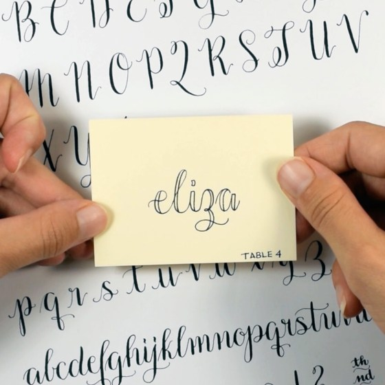This course eases you in to calligraphy by starting off with faux calligraphy. In the course, you'll learn how to make this lovely faux calligraphy place card!
