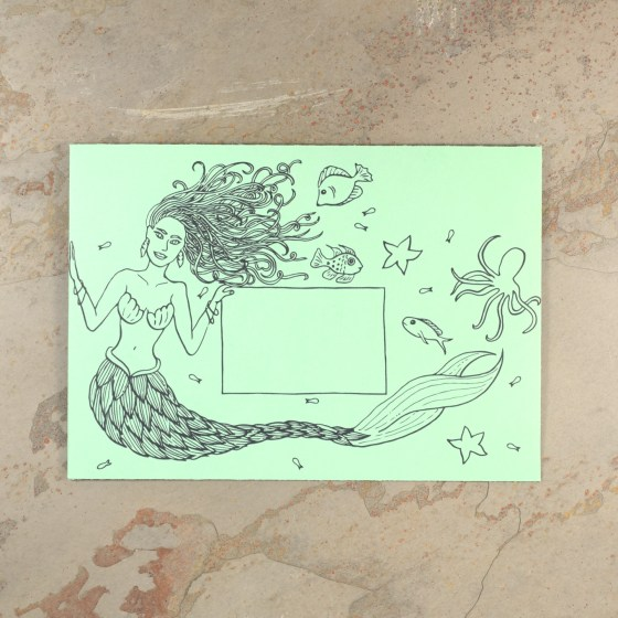 This lovely mermaid is enjoying her time with her under the sea companions! This envelope is a favorite of my young nieces. (Write the recipient's address in the middle rectangle.)
