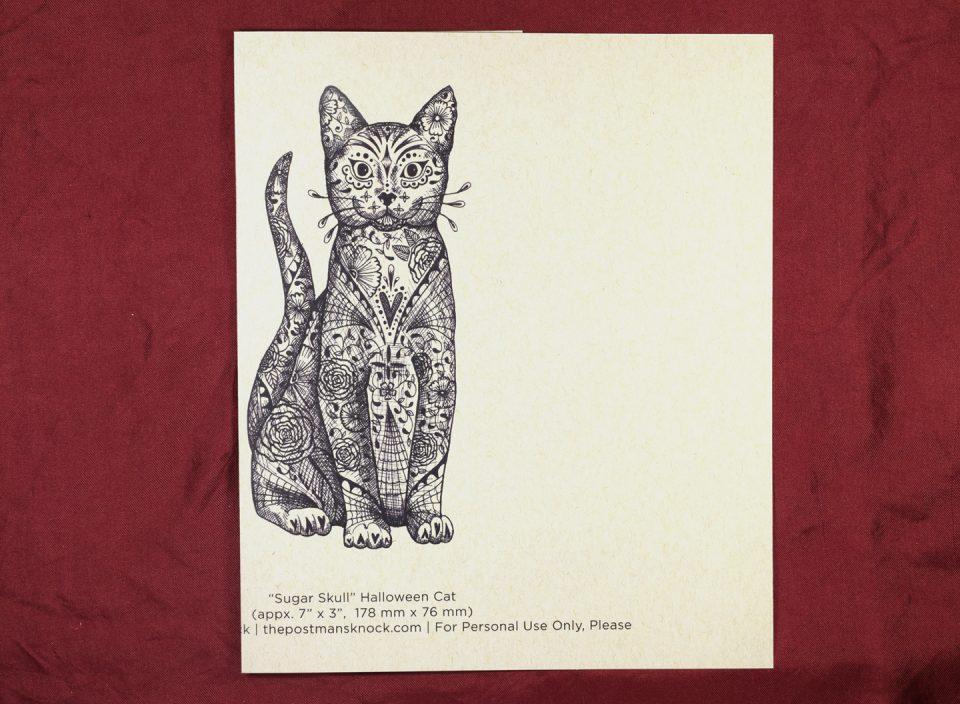 Happy Halloween Sugar Skull Cat Card| The Postman's Knock