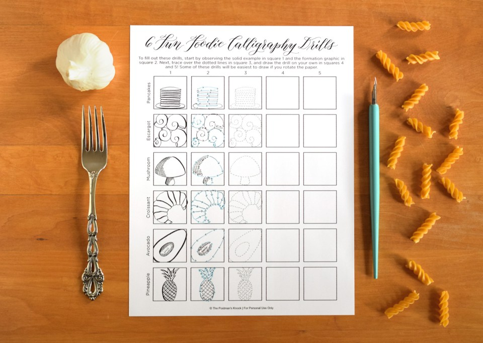 """Six Fun Foodie"" Free Printable Calligraphy Drills 