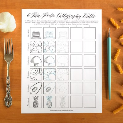 "Six ""Fun Foodie"" Free Printable Calligraphy Drills"