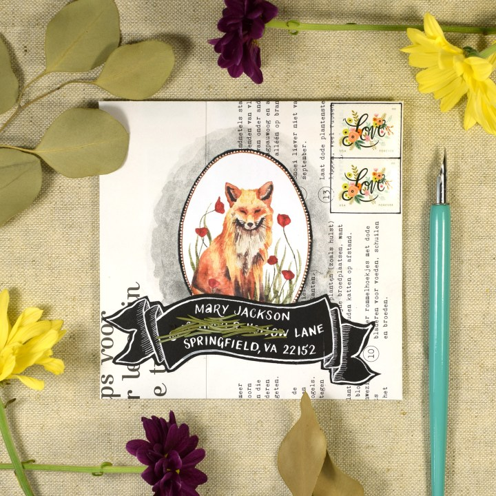 """This mail art was created using the 5.5"""" x 5.5"""" envelope template and one of the clipart illustrations from The Letter Writer's Complete Resource."""