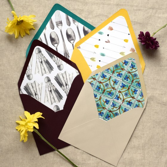All of the envelope liners shown here come to you as printable patterns! You can use these patterns for envelope liners (as shown) or any other project like a bullet journal or wrapping paper.