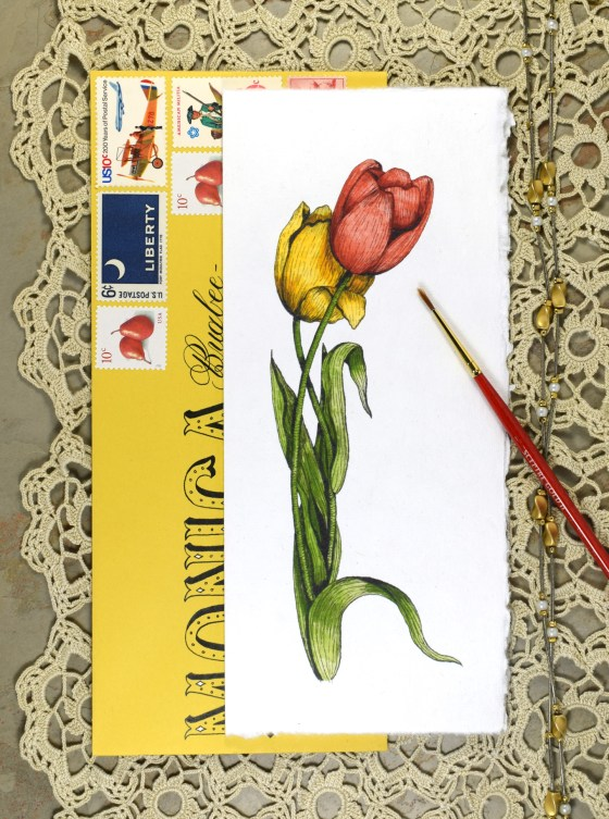 The watercolor tulips card is truly the perfect fit for any occasion, happy or sad. It was designed to slide right in to a #10 envelope.