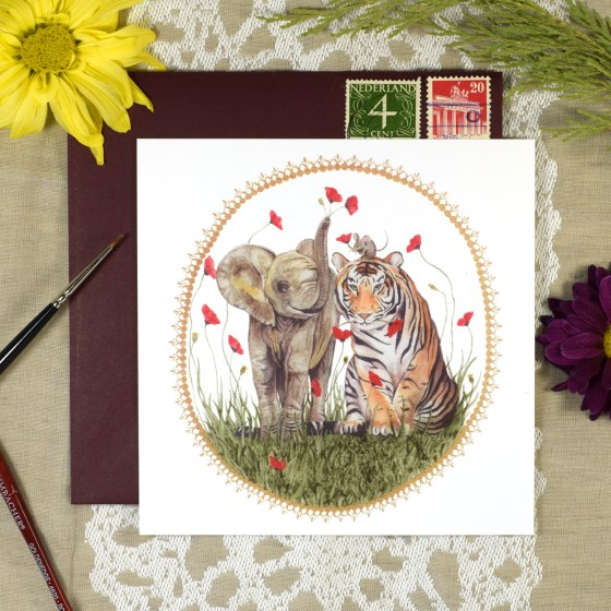 "The Elephant, Mouse, and Tiger card is 5-1/4"" x 5-1/4"". This is such a sweet illustration that's perfect for sending to adults and children alike!"
