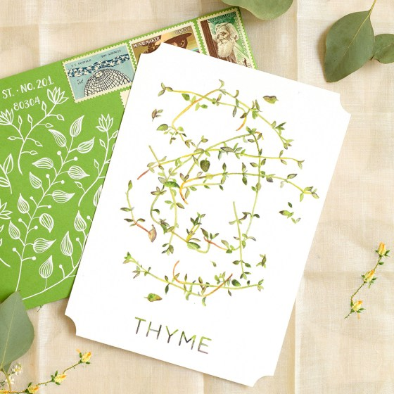 """The 5""""x7"""" Thyme card is wonderful for those who have an interest in cooking or gardening! It doubles as beautiful kitchen artwork."""