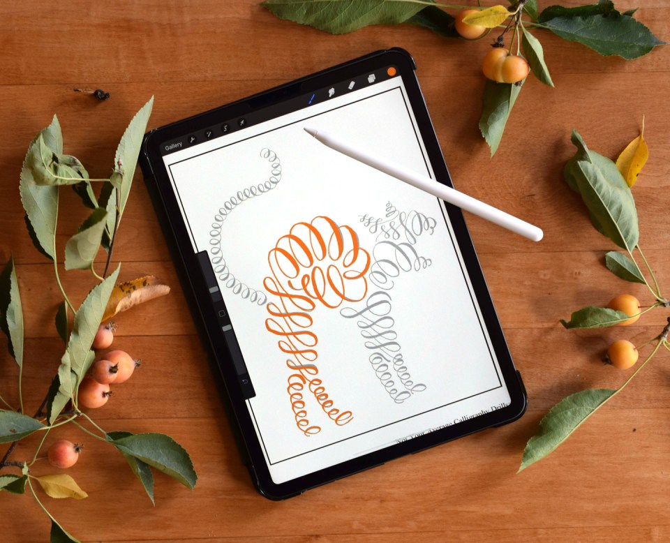 """The """"Not Your Average Calligraphy Drills: Spooky Edition"""" packet is now available as a PROCREATE worksheet!"""