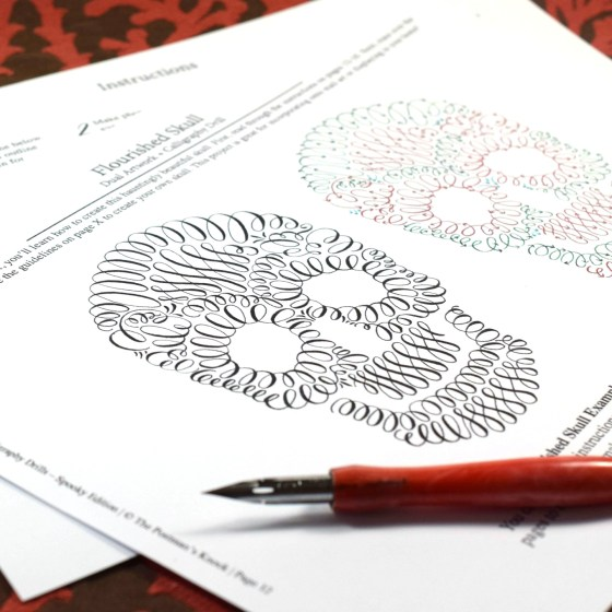 Finally, you'll finish up the packet by practicing how to make this flourished skull.
