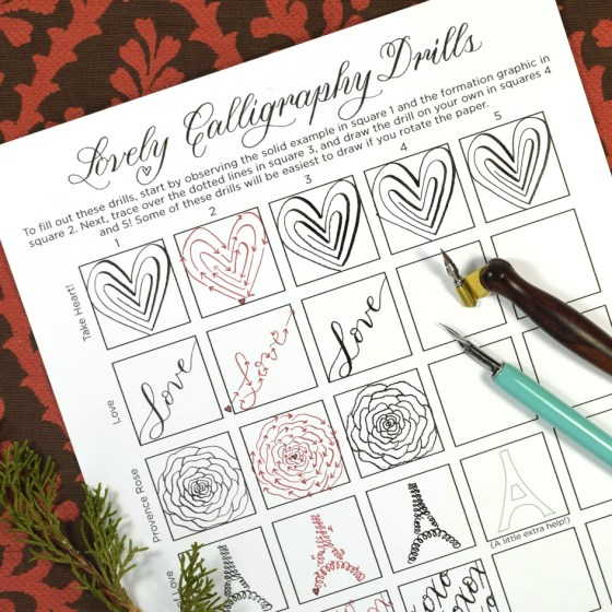 The Lovely Calligraphy Drills sheet features six Valentine's Day-themed drills for your practicing pleasure!