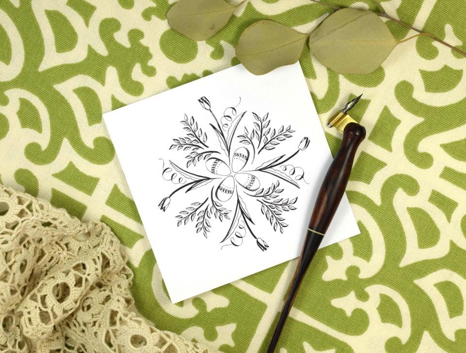 Springtime Calligraphy Medallion Tutorial   The Postman's Knock